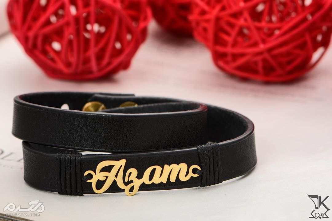 دستبند چرم مردانه پلاک طلا