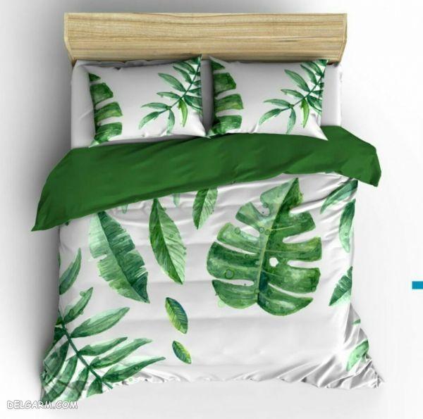رو تختی های زیبا رنگ سبز و سفید