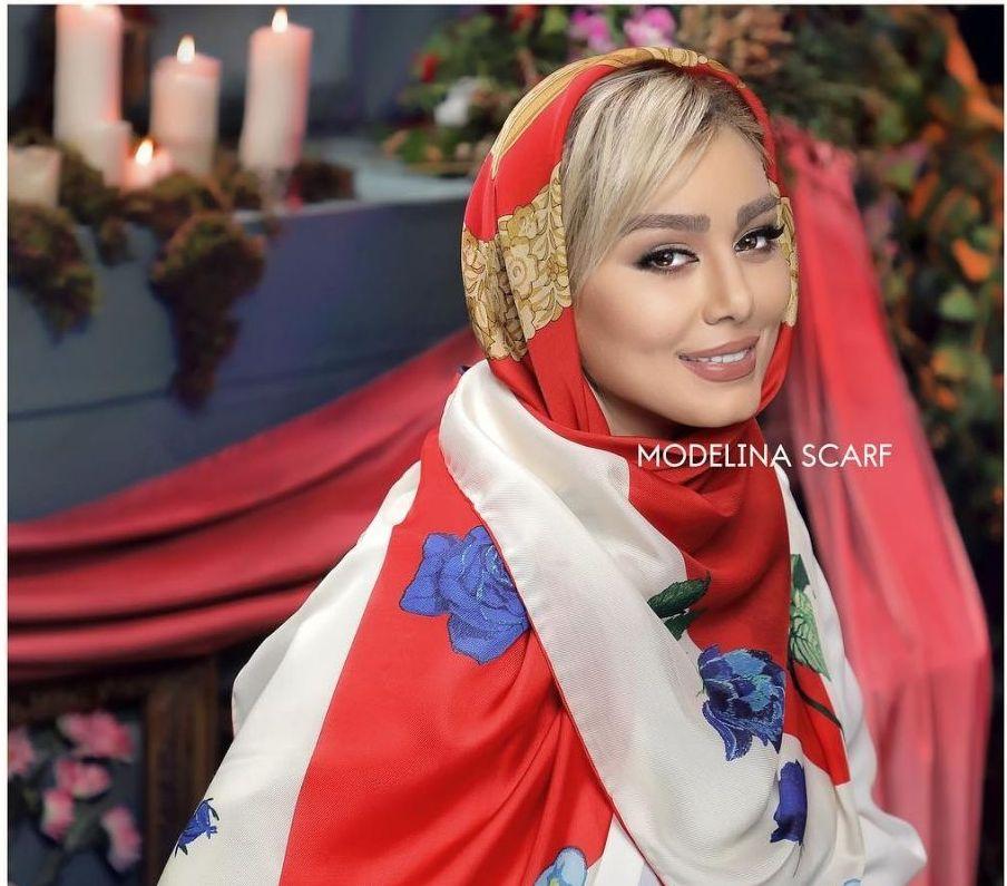 تبلیغ سحر قريشى از مدل روسری و شال فوق العاده زیبا و برند خود