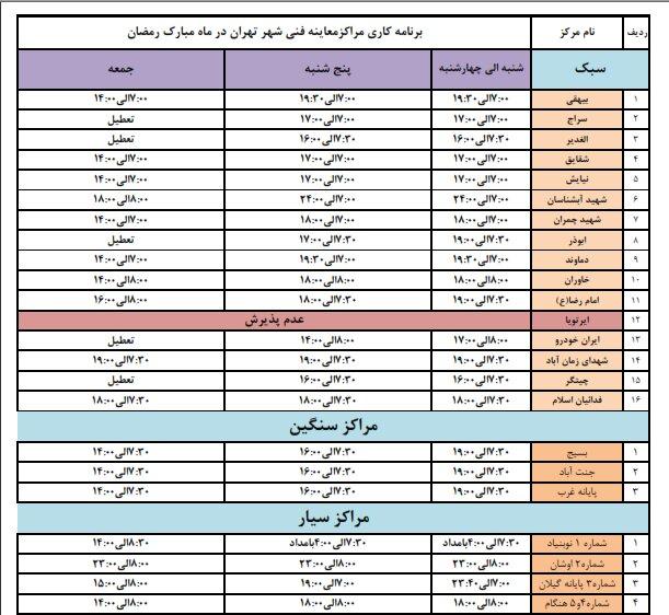 ساعت کاری مراکز معاینه فنی خودرو در ماه رمضان
