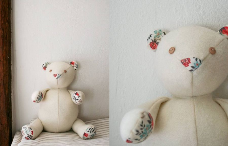 طرز ساخت عروسك پارچه ای خرس + الگو
