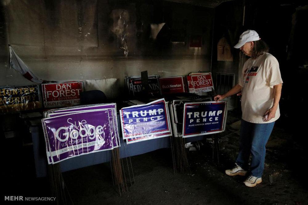 آتش سوزی در ستاد ترامپ در کارولینا