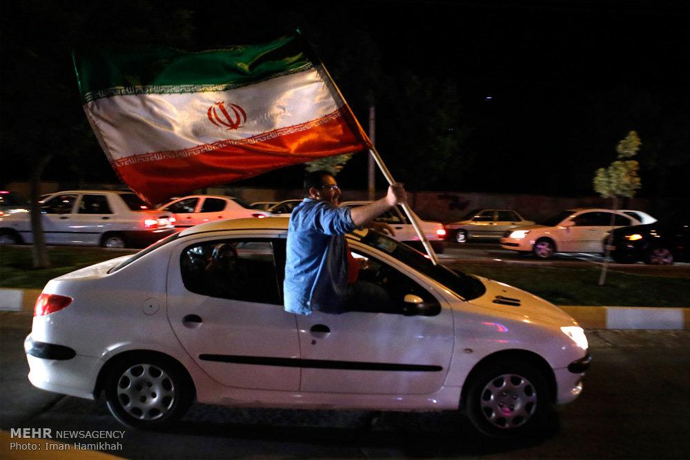 شادی مردم همدان پس از صعود تیم ملی فوتبال به جام جهانی روسیه