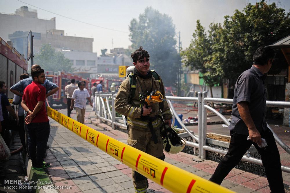 حریق چند مغازه در میدان قدس