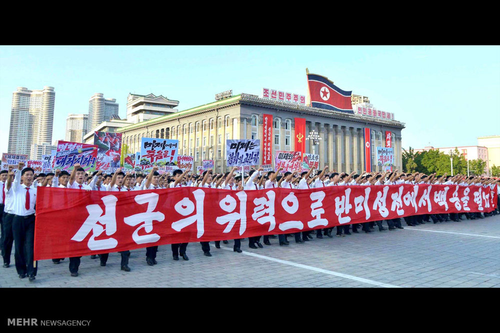 تصاویر اعتراض مردم کره شمالی به تحریم های سازمان ملل