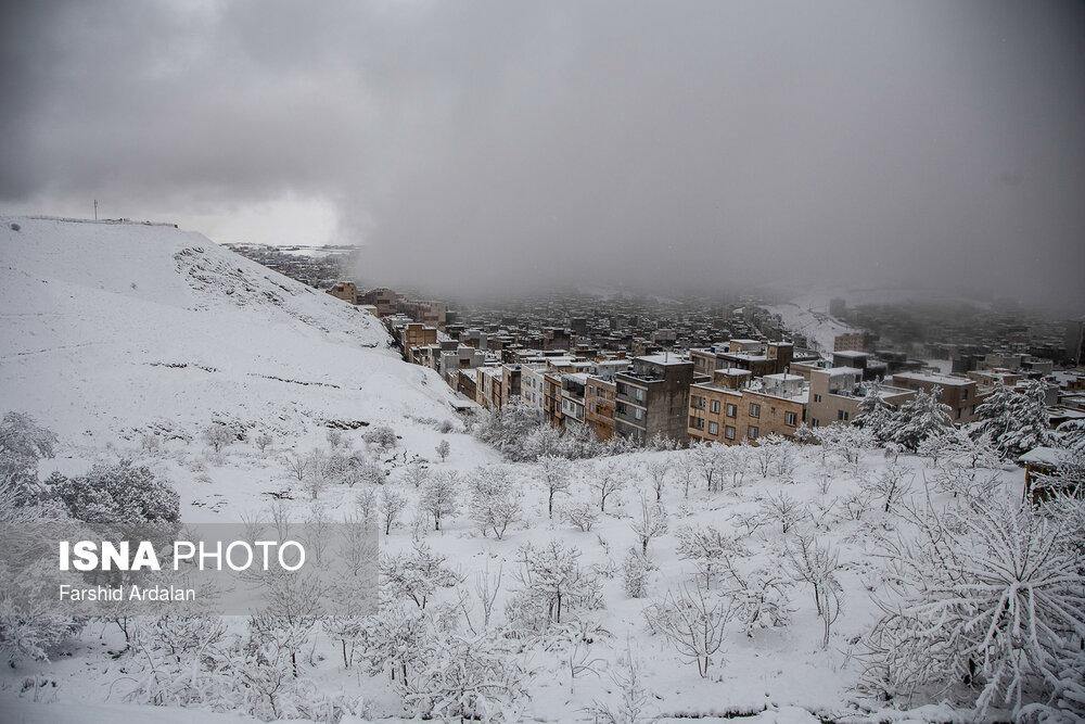 تصاویری زیبا از بارش برف در کردستان