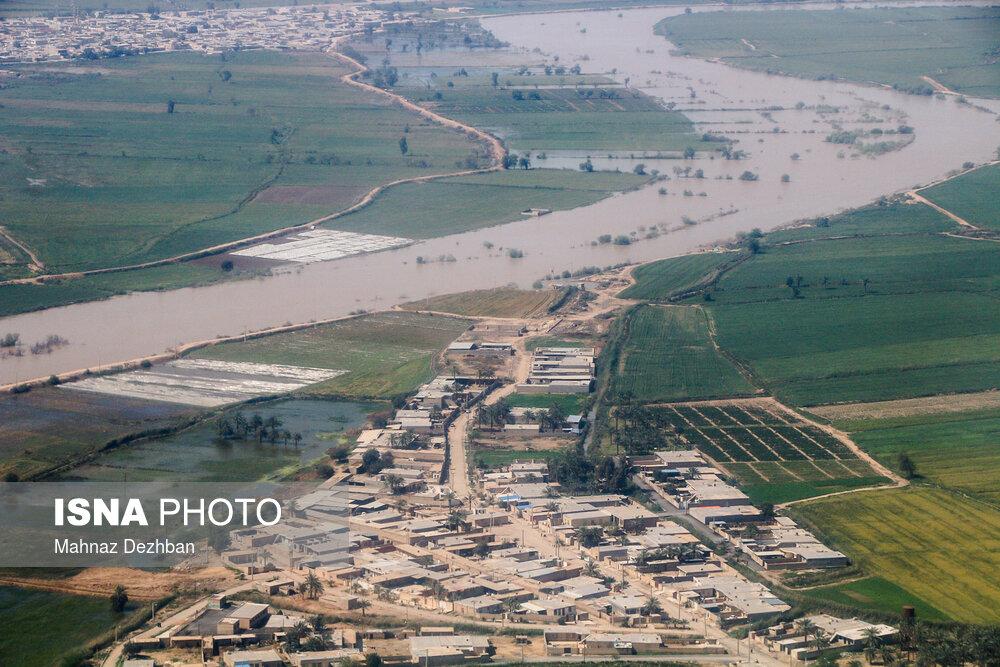 تصاویر هوایی از مناطق سیل زده اطراف کارون