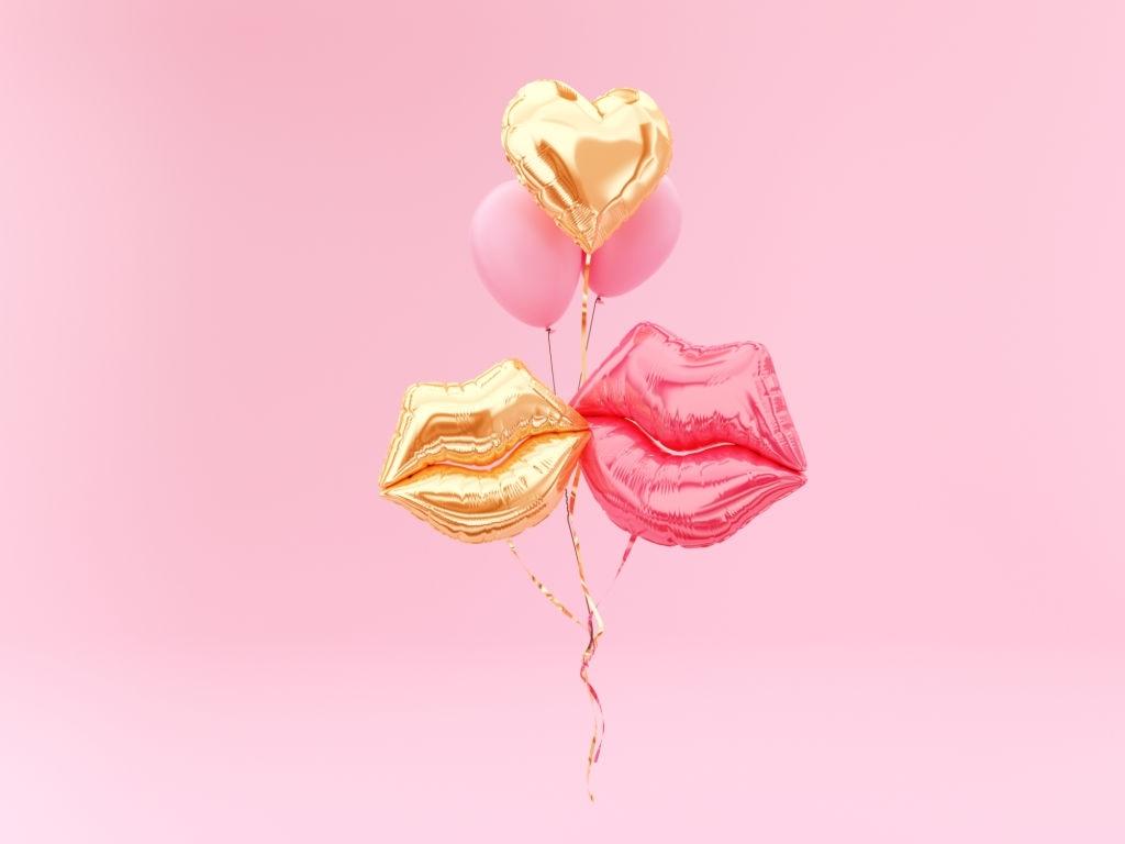 عکس بادکنک بوسه تم بادکنکی برای روز عشق