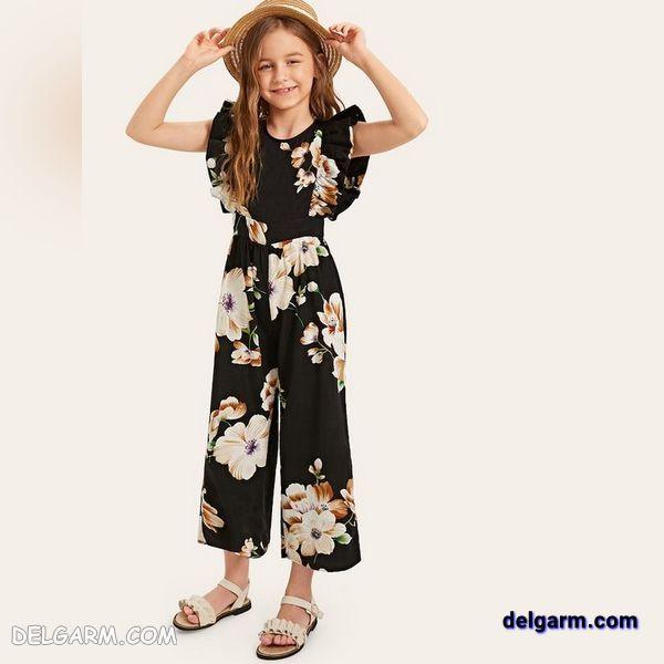 بیلر بچه گانه دخترانه جدید با پارچه طرح دار مشکی گلدار مناسب ساحل