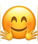 معنی ایموجی ها |معنی ایموجی صورتی با دستانی باز زیر صورت