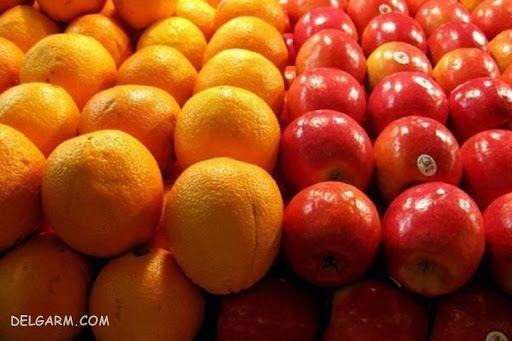 نگهداری سیب و پرتقال کنار هم