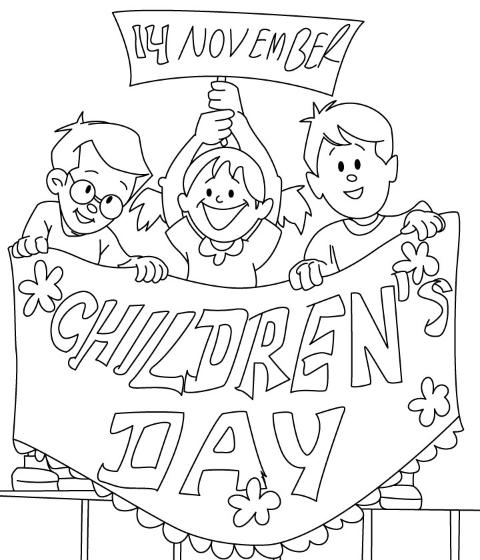 نقاشی روز کودک / نقاشی روز جهانی کودک برای رنگ آمیزی / نقاشی روز جهانی کودک