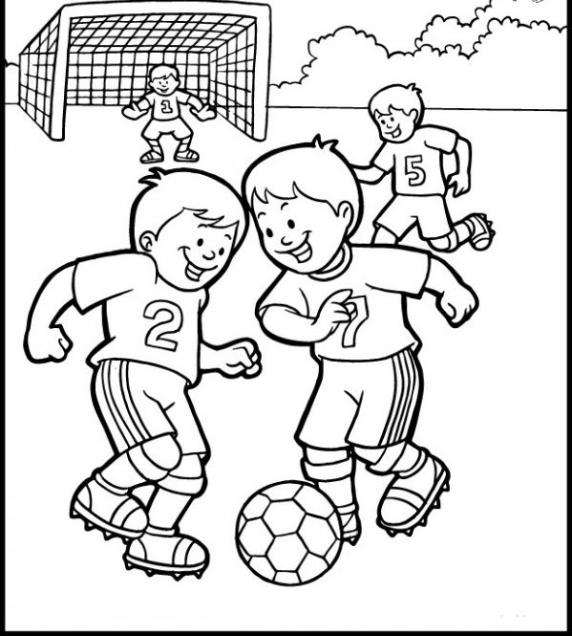 نقاشی ورزش / نقاشی ورزشی برای مدرسه  / کاربرگ هفته ورزش / نقاشی ورزشی فوتبال