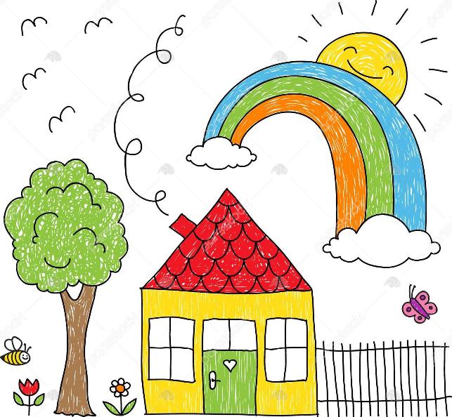 نقاشی رنگین کمان / نقاشی کودکانه رنگین کمان / رنگ آمیزی رنگین کمان