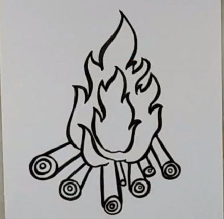 نقاشی آتش / نقاشی کودکانه آتش / نقاشی ساده آتش