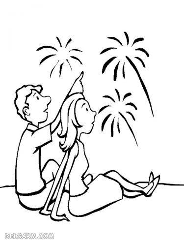 نقاشی ترقه / نقاشی ترقه و آتش / نقاشی خطرات ترقه بازی
