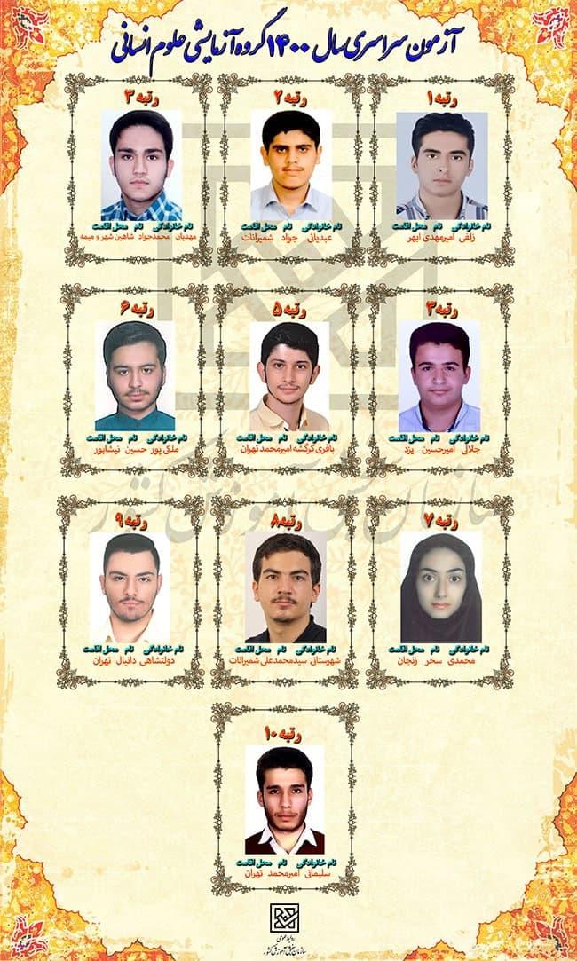 تصاویر و اسامی  نفرات برتر کنکور 1400  در رشته های مختلف