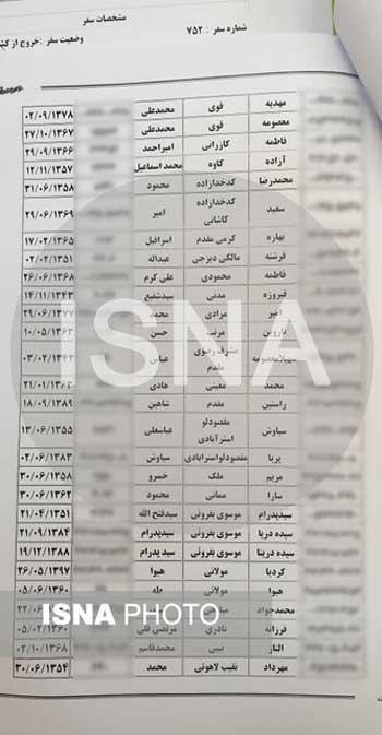 اسامی جان باختگان پرواز تهران - کیف اعلام شد