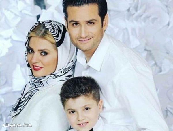 پویا امینی در کنار همسر و فرزندش