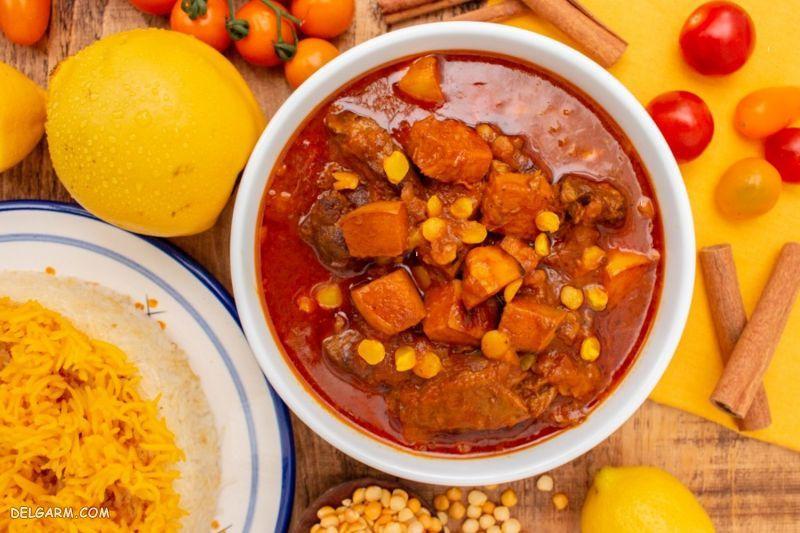 غذای ساده و خوشمزه خورشت به با لپه
