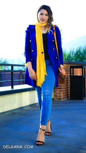 لباس آبی را با چه رنگ لباسی ست کنیم ؟  | ست آبی کلاسیک و زرد