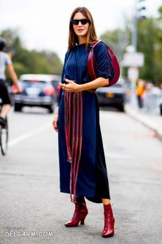آبی کلاسیک و قرمز  سرخ آبی |  ست کردن مانتو آبی | لباس آبی را با چه رنگ لباسی ست کنیم ؟