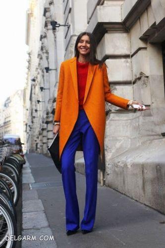 ست رنگ آبی کلاسیک و آجری | لباس آبی را با چه رنگ لباسی ست کنیم ؟