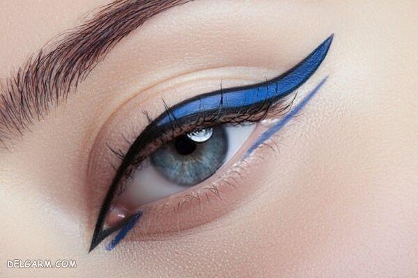 رنگ آرایش صورت و سایه چشم آبی کلاسیک سال 2020