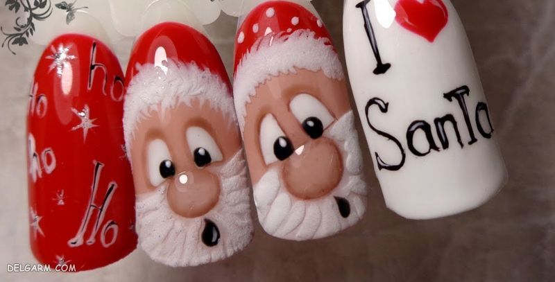 مدل بابانوئلی ناخن