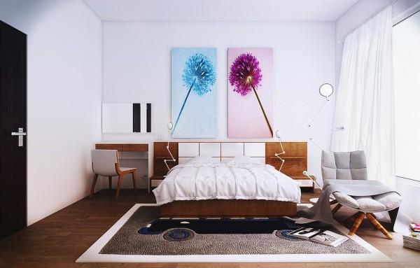 On schilderij model voor slaapkamer