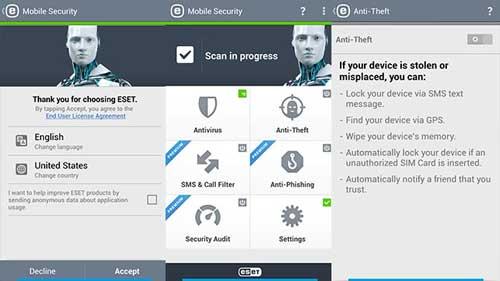 برای موبایل های اندرویدی ESET آنتی ویروس و نرم افزار امنیتی