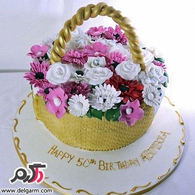 کیک تولد گل