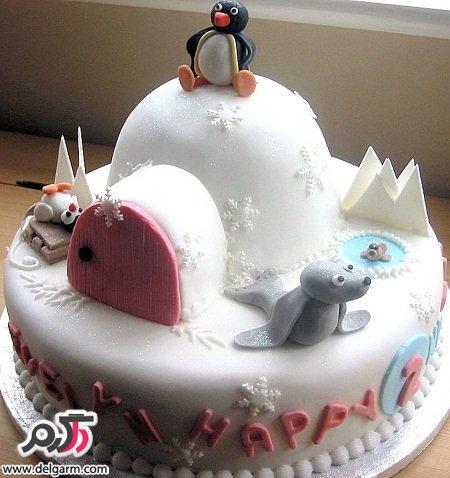 طرز درست ماکت کیک تولد مدل های با مزه کیک تولد به شکل پنگوئن