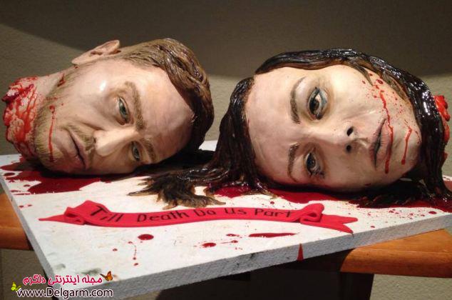 سر بریده عروس و داماد در کیک