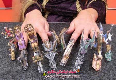 تصاویری عجیب و نادر از طراحی بر روی ناخن