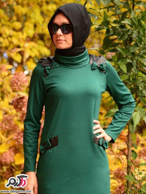 مدل تونیک باریون مدل مانتو مجلسی دخترانه پاییزی کاربنی رنگ.