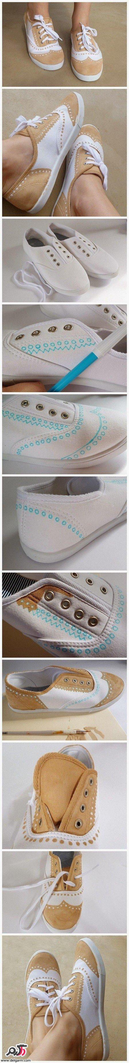 تزیین کفش کتونی ساده
