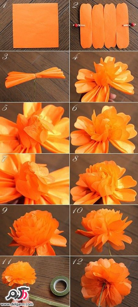 آموزش درست كردن گل با كاغذ روغني