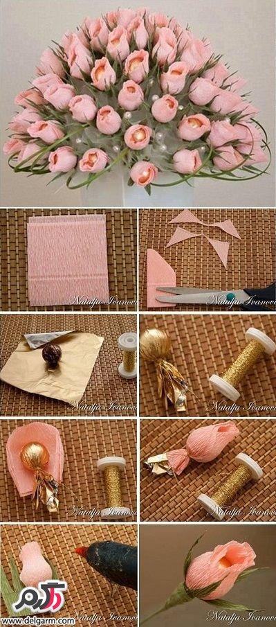 ساخت دسته گل با غنچه شکلات
