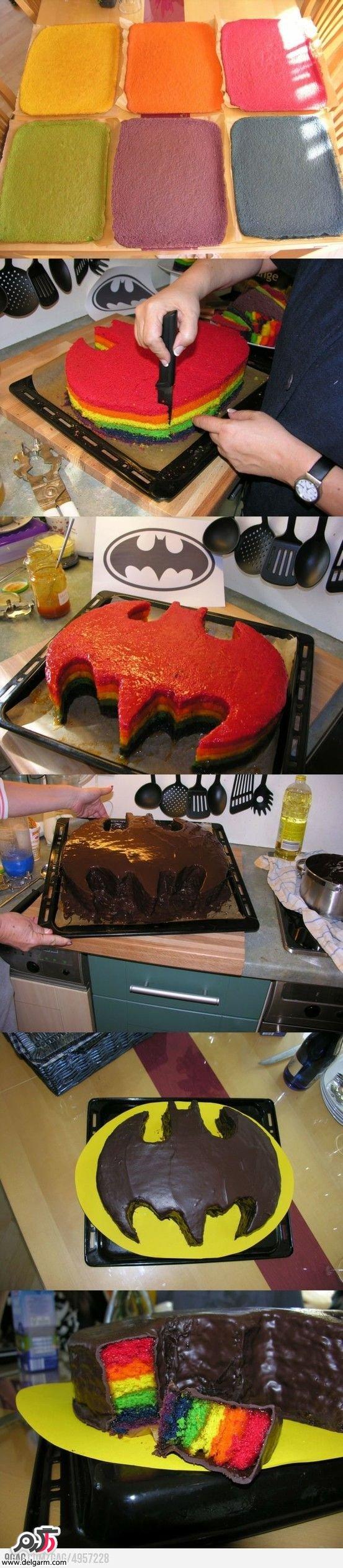 تهیه کیک بت من رنگین کمانی با روکش شکلات