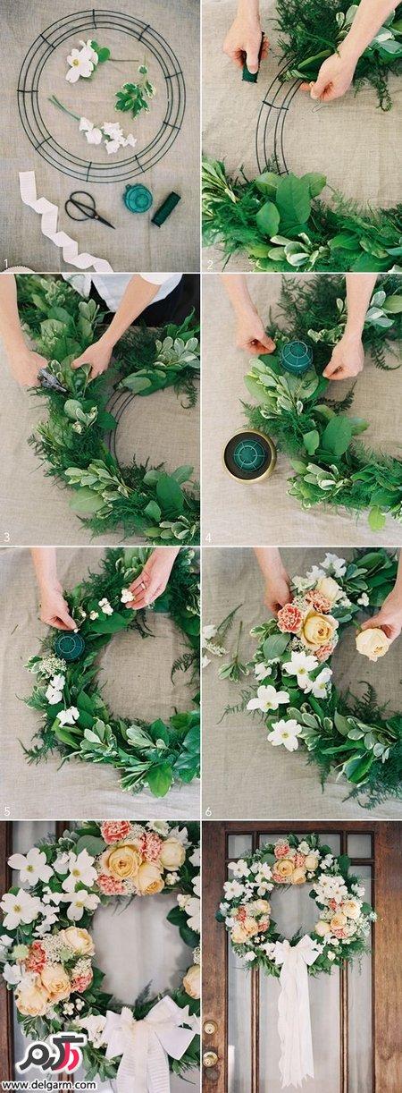 آموزش عکسی درست کردن حلقه گل عروسی