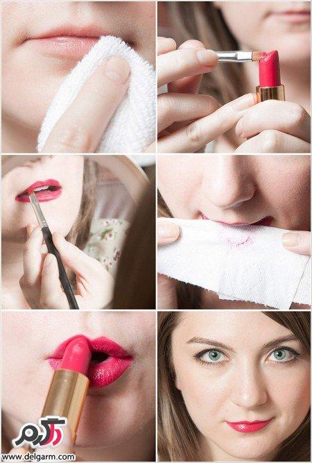 تصاویری از آموزش آرایش لب