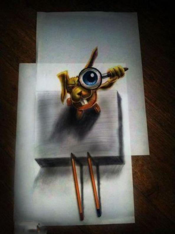 نقاشی های جالب سه بعدی روی کاغذ 1