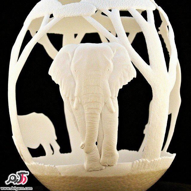 روش نقاشی روی  شترمرغ نقاشی های زیبا روی تخم شترمرغ