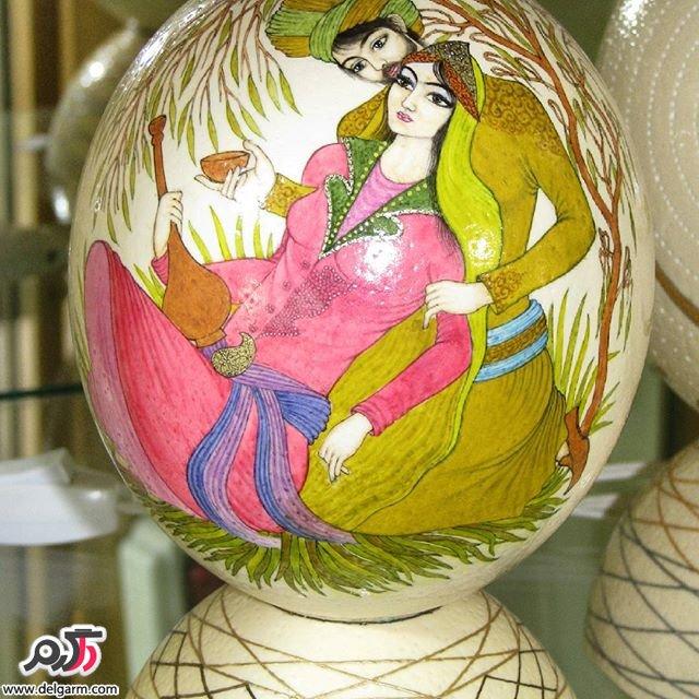 طرح های زیبا روی تخم شتر مرغ