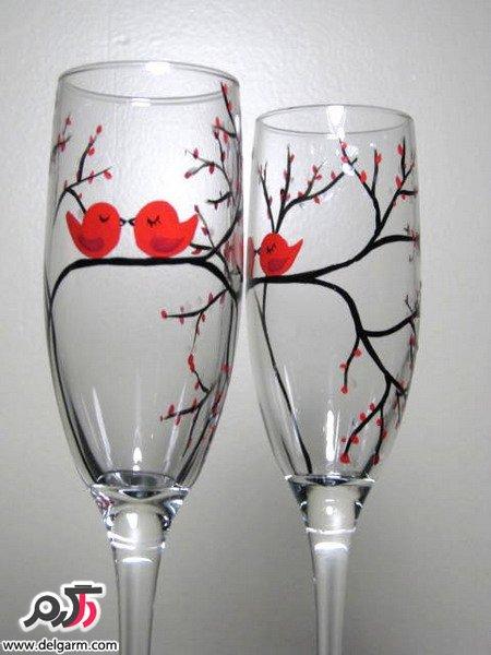 روش نقاشی روی  شترمرغ طرح های زیبا نقاشی روی شیشه و ظروف کریستالی