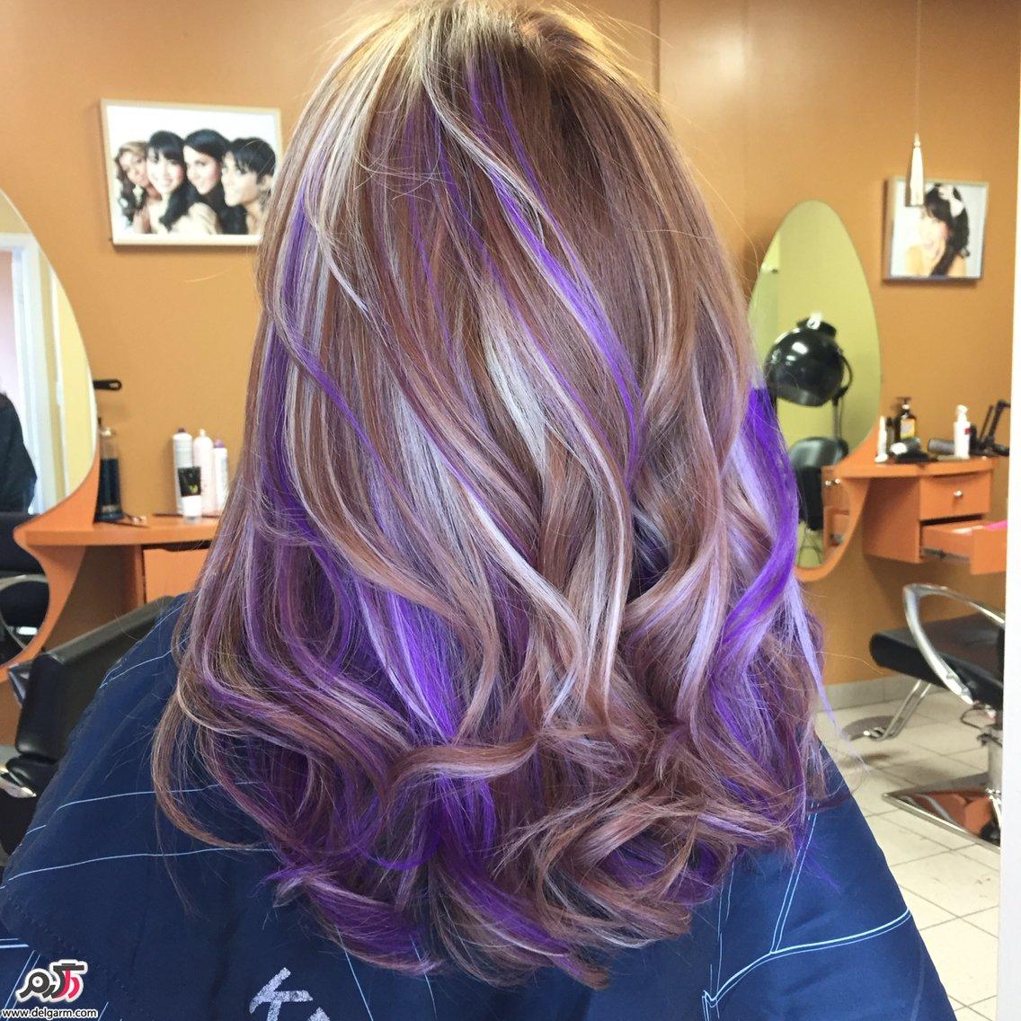 آموزش فرمول ترکیب رنگ مو بنفش به رنگ سال ۲۰۱۸ ۹۷ عکس
