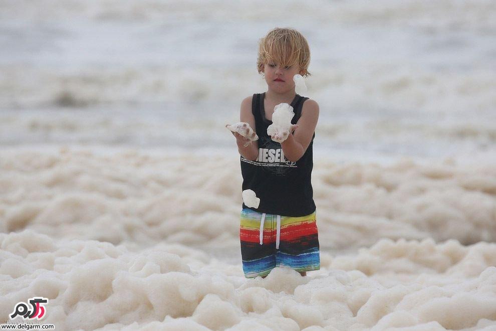 ساحلی پر از کف در استرالیا+عکس