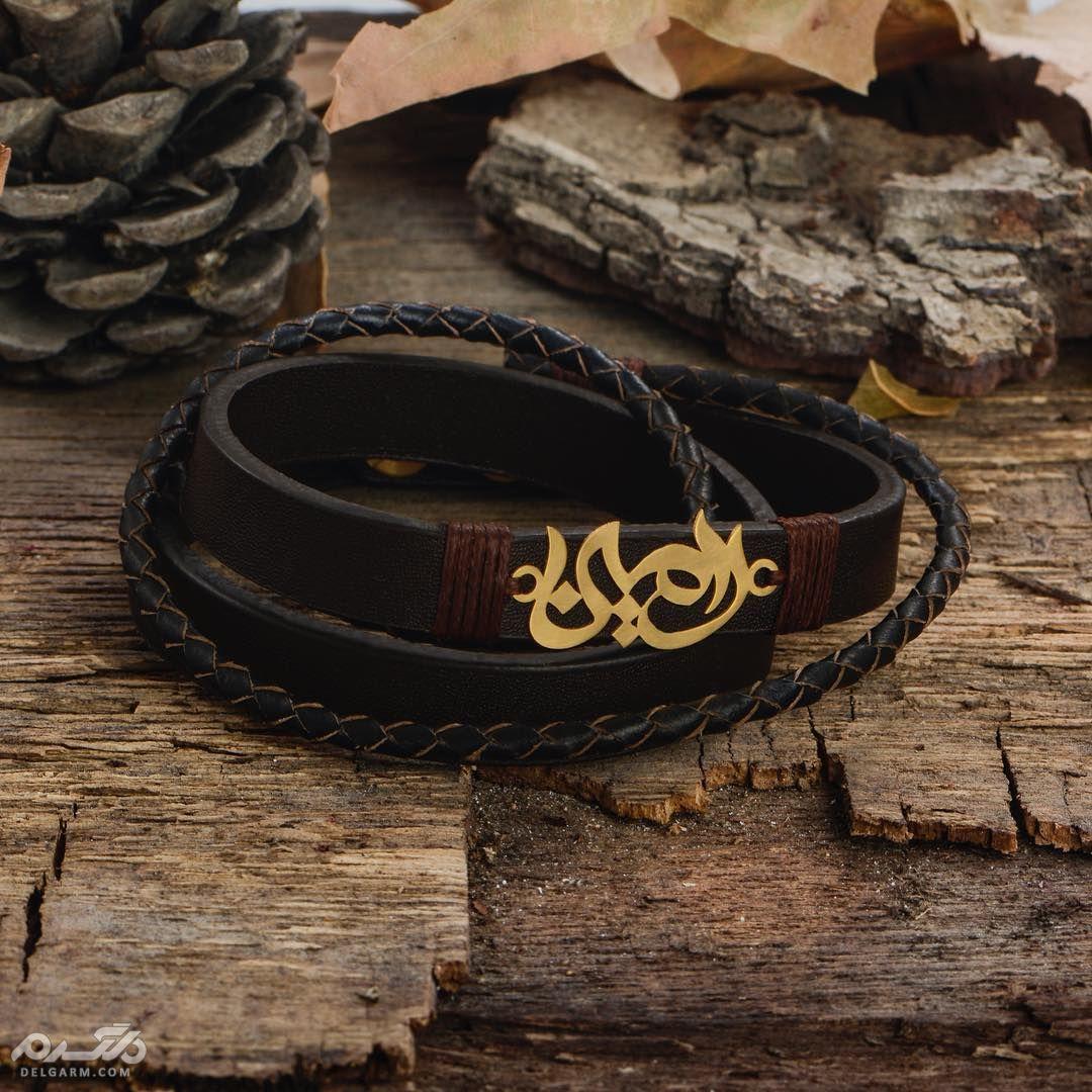 دستبند چرم مردانه و پسرانه با پلاک طلا
