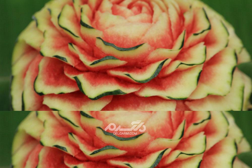 ۱۵ عکس جدید و با کیفیت تزیین هندوانه شب یلدا با طرح گل